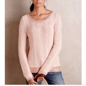 Anthropologie | Moth Pink & Rose Gold Sweater Sz S